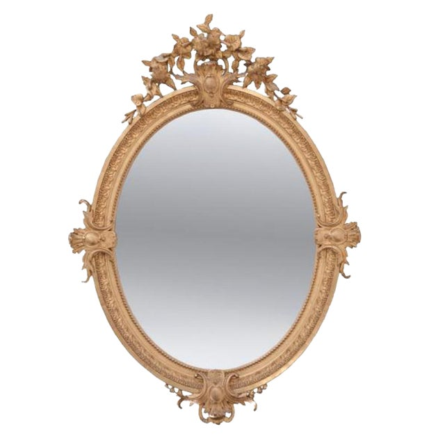 French 19th Century Oval Gold Gilt Mirror For Sale