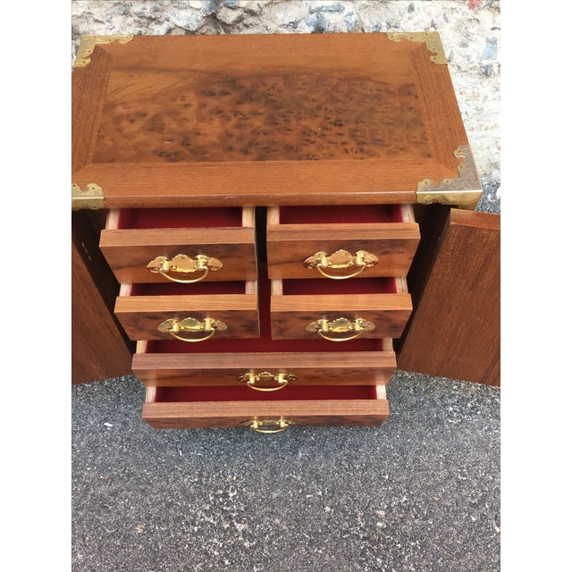 Vintage Chinoiserie Wood & Brass Jewelry Box - Image 6 of 6