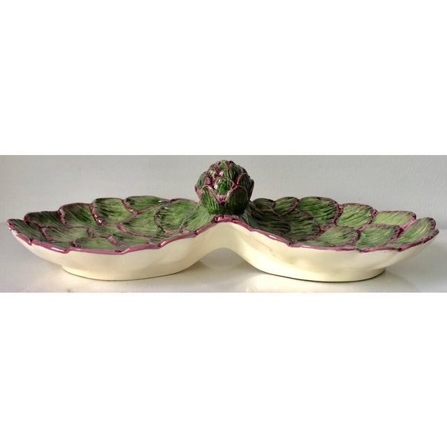 Mediterranean Neuwirth Artichoke Double Serving Dish-1980's For Sale - Image 3 of 10