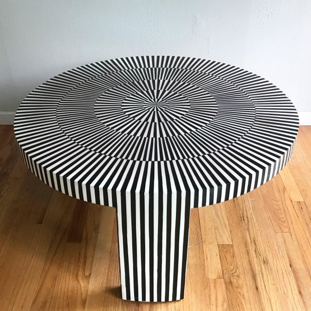 "Modern Made Goods ""Carlatta"" Coffee Table Tessellated Black and White Resin For Sale - Image 3 of 11"