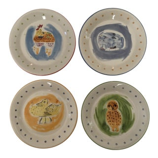 1990s Vintage Jane Kolpen for Pfaltzgraff Petite Animal Trays/Plates - Set of 4 For Sale
