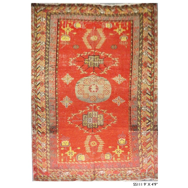Vintage Hand Knotted Khotan Circa 1900 - 4′9″ × 9′ For Sale In Los Angeles - Image 6 of 7