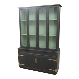 Midcentury Grey & Teal China Cabinet