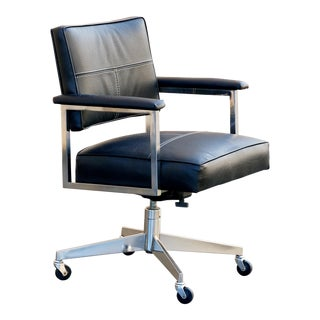 Vintage Steelcase Office Chair, Refinished in Black For Sale