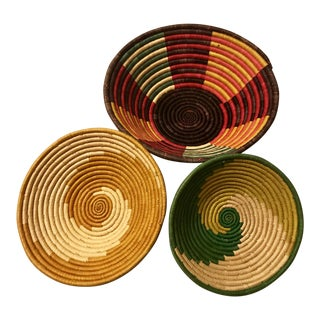 1980s Boho Chic Swahili Sweetgrass Hand Woven Vibrant Baskets - Set of 3 For Sale