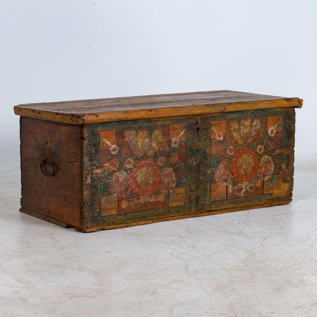 19th Century Antique Painted Trunk For Sale - Image 10 of 10