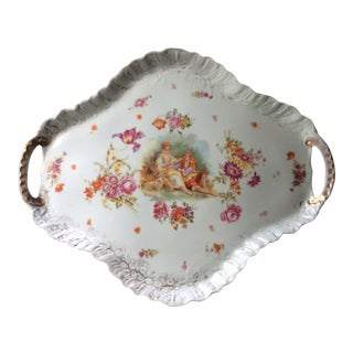 Antique 1900s Large French Porcelain Tea Tray For Sale