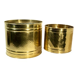 Late 20th Century Solid Brass Round Planters - a Pair For Sale