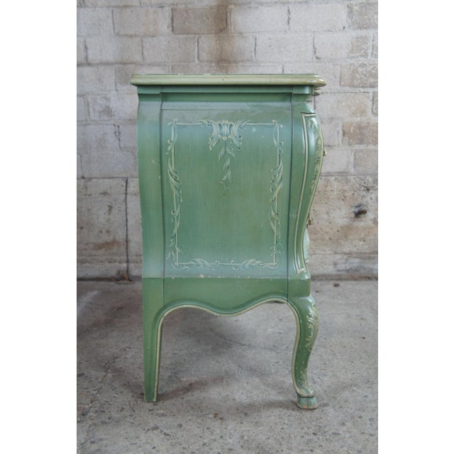 1960s 1960s John Widdicomb Wm Burkey Distressed Teal Commode For Sale - Image 5 of 13