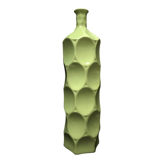 Mid Century Style Chartreuse Green Bottle Vase For Sale