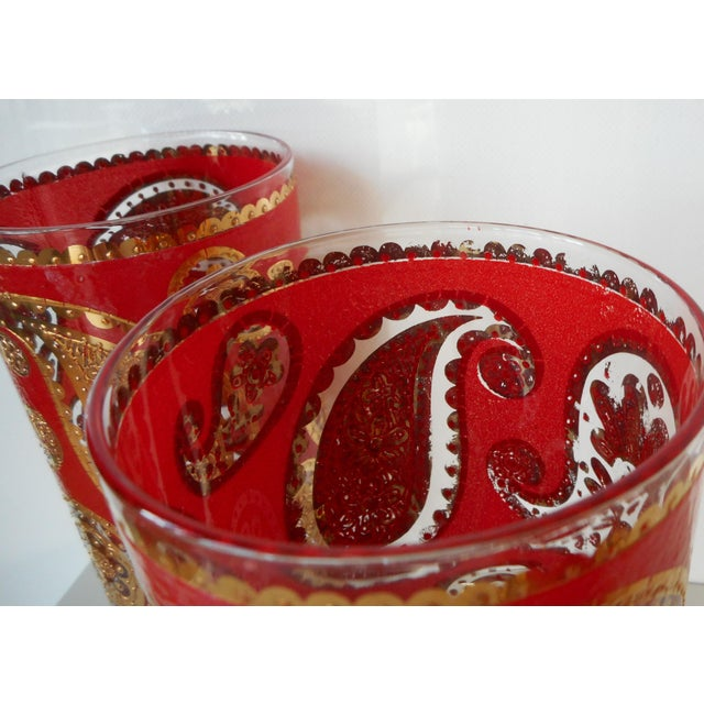 Vintage Mid-Century Culver Glass Paisley Red and Gold Highball Tumbers - Set of 7 For Sale - Image 6 of 7