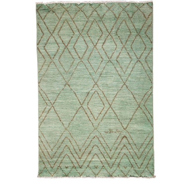"""Moroccan Hand Knotted Area Rug - 4'1"""" X 6' - Image 1 of 3"""