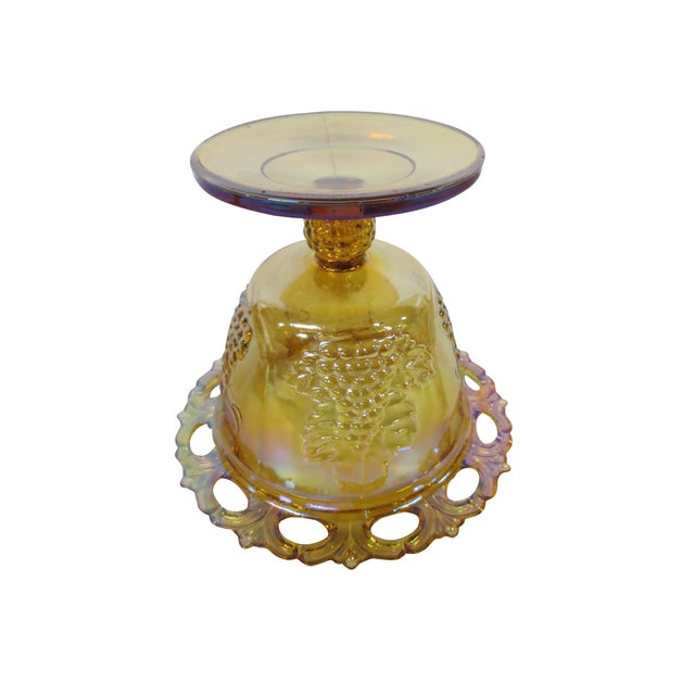 Ornate Marigold Glass Candy Dish - Image 5 of 5