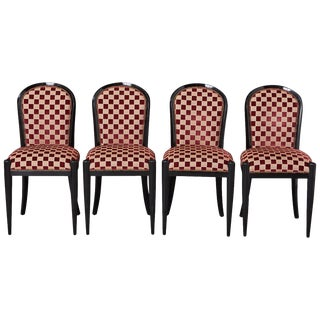Set of 4 Black Lacquered Side Chairs by Sally Sirkin Lewis for J. Robert Scott For Sale