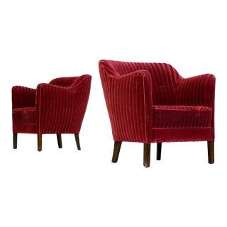 Danish Pair of Frits Henningsen Style 1940s Lounge Chairs in Velvet