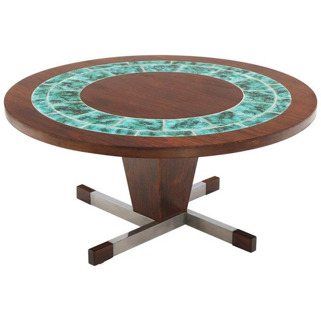 Art Tile Top Rosewood Cone Shape Base Round Coffee Table For Sale - Image 10 of 10