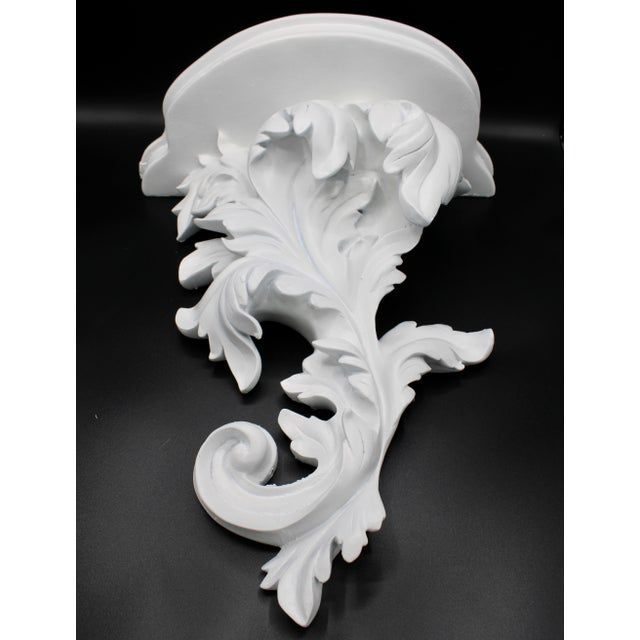 Italian Large White Acanthus Leaf Wall Shelf For Sale - Image 3 of 12