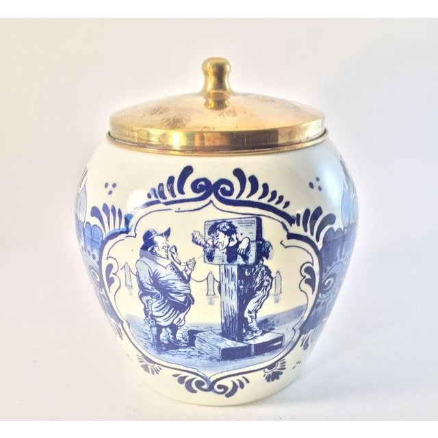 Hand Painted Delft Blue & White Porcelain Jar - Image 2 of 6