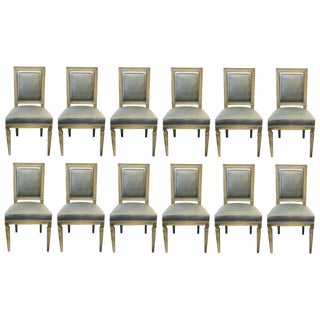 Set of Twelve Jansen Style Faux Linen Paint Decorated New Upholstery For Sale