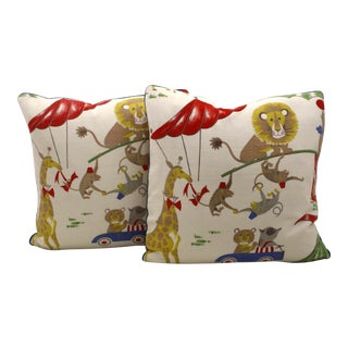 Vintage Circus Motif Pillows - A Pair For Sale