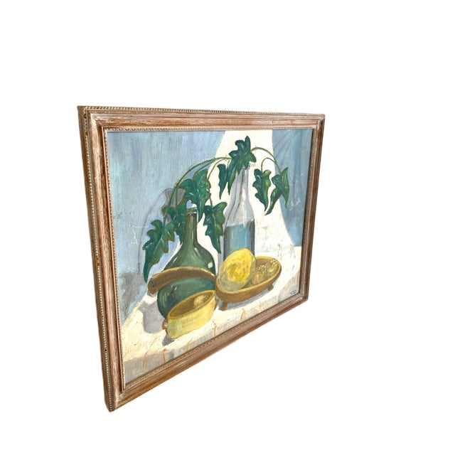Blue 1960's Still Life Painting Oil on Canvas Framed and Signed For Sale - Image 8 of 10