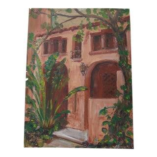 Southwestern Painting Spanish Revival Garden Facade For Sale