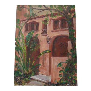 Southwestern Spanish Revival Stucco Facade Oil Painting