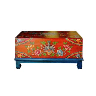 Distressed Chinese Tibetan Rectangular Shape Orange Floral Wood Container For Sale