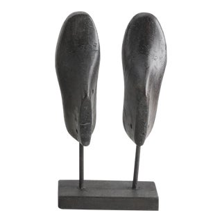 Vintage Black Wood Shoe Molds on Stand - A Pair