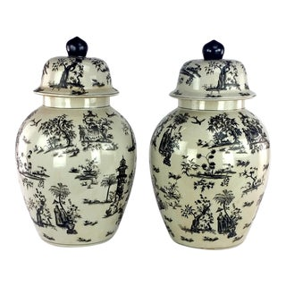 Black White Toile Jars With Lid - a Pair For Sale