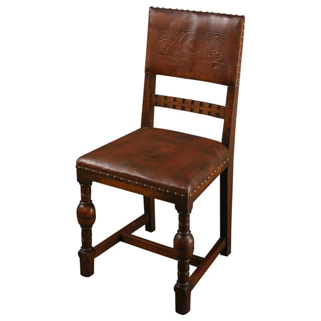 Vintage 1930 French Leather & Oak Dining Chair - Image 1 of 10
