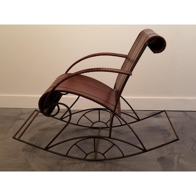 Industrial Iron and Leather Rocker For Sale In San Francisco - Image 6 of 13