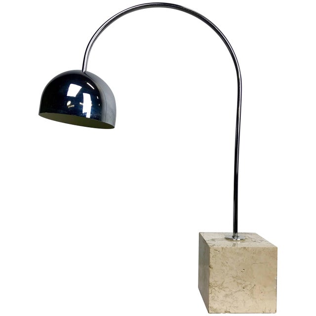 Travertine Marble and Chrome Table Lamp by Harvey Guzzini For Sale In New York - Image 6 of 6