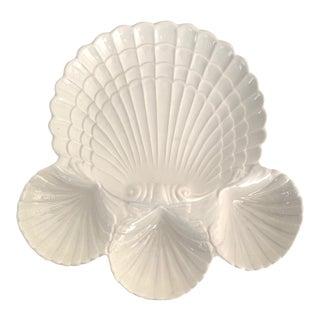 Vintage White Ceramic Sea Shell Appetizer Serving Platter - Made in California For Sale