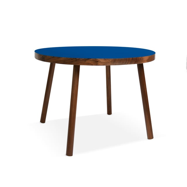 "Nico & Yeye Poco Large Round 30"" Kids Table in Walnut With Pacific Blue Top For Sale - Image 4 of 4"