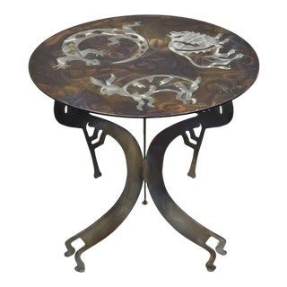 1990s Southwestern Steel Metal Kokopelli Bison Salamander Hare Round Side Table For Sale