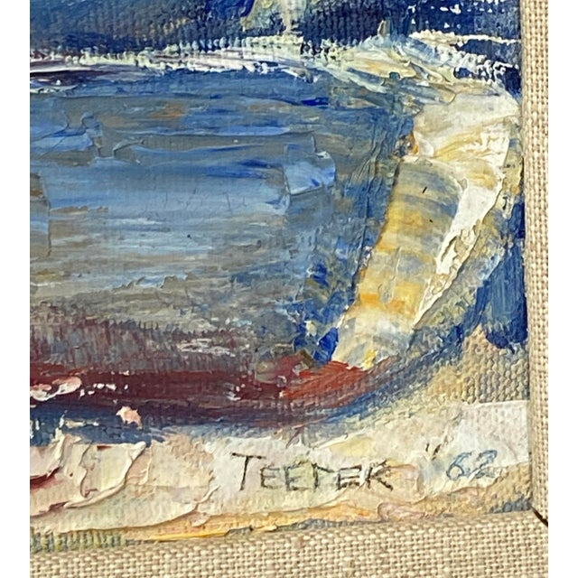 """1960s Midcentury French Oil Painting on Canvas, """"Saint-Tropez, France"""" - 1962 For Sale - Image 5 of 13"""