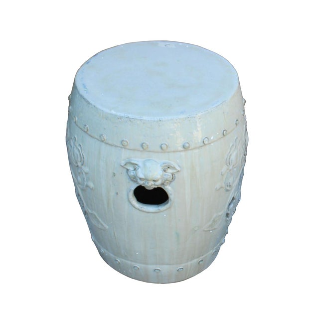 This is a hand made garden clay stool in round shape with foo dog head accent handle and lotus pattern. The surface is...