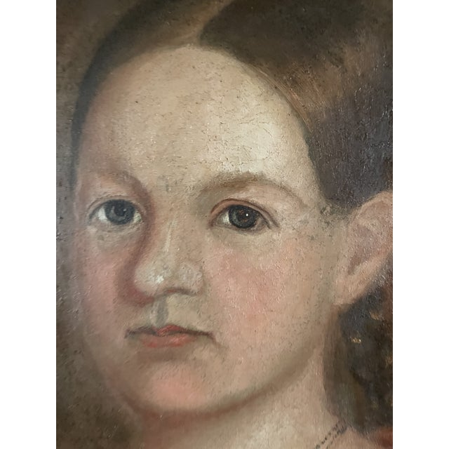 Early 19th Century American Folk Art Portrait Oil Painting of a Girl, Framed For Sale - Image 4 of 13