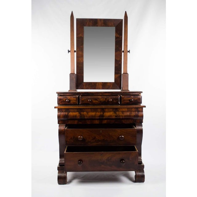 American Late 19th Century Antique American Empire Mahogany Vanity Dresser For Sale - Image 3 of 13