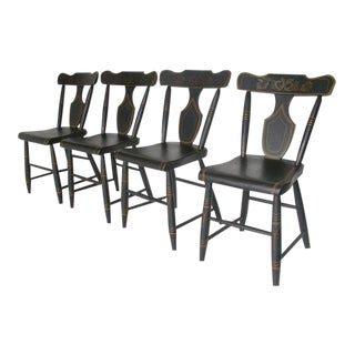 19th Century Black Painted Plank Bottom Chairs For Sale