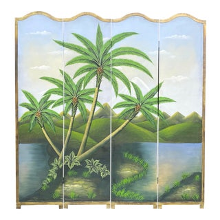 Hand Painted Tropical Landscape Four Panel Screen For Sale