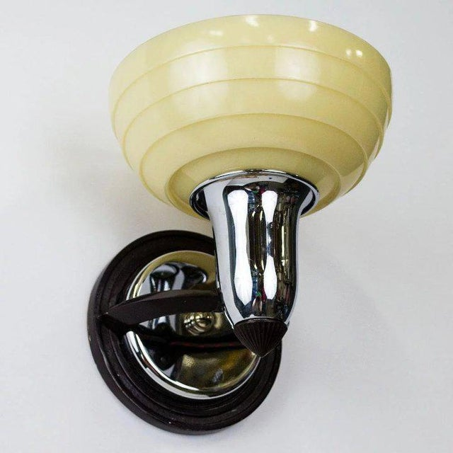 Art Deco American 1930's Deco Slip Shade Sconce For Sale - Image 3 of 5