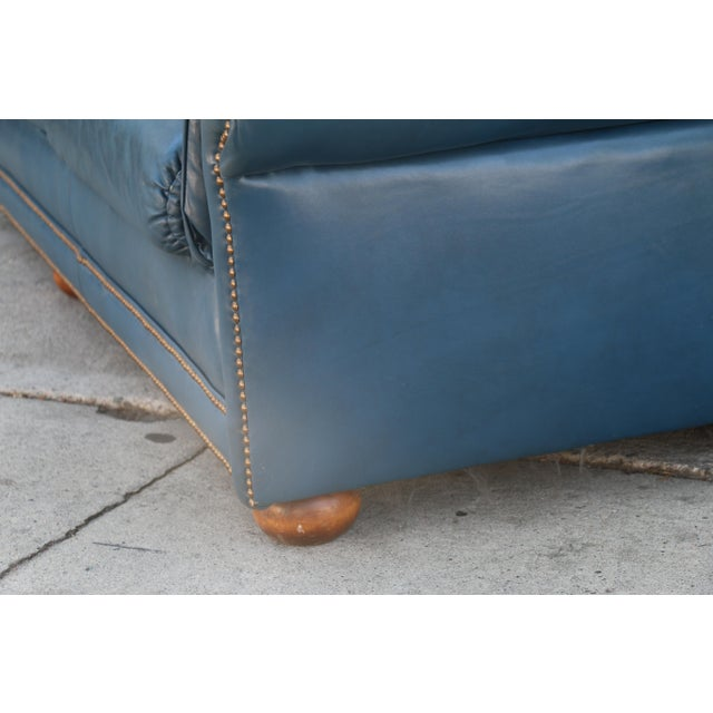 Teal Leather Sofa - Image 7 of 11
