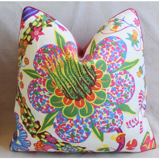 """Early 21st Century Designer Josef Frank Floral Linen & Velvet Feather/Down Pillows 21"""" Square - Pair For Sale - Image 5 of 13"""