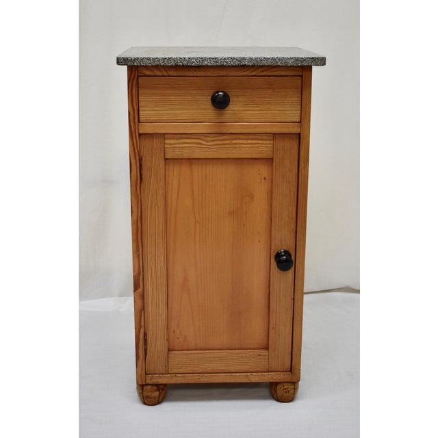 Pine Marble Top Nightstand For Sale - Image 13 of 13