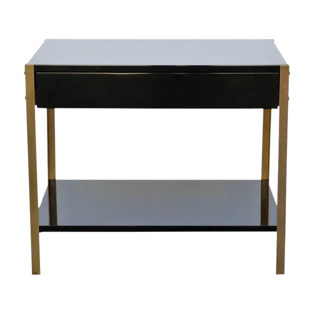 "Contemporary ""Laque"" Black Lacquer and Brass Night Stand For Sale"
