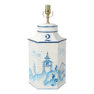 "Vintage English Export Chinoiserie Blue & White Tole Hexagon Tea Caddy Lamp ""#2"" For Sale"