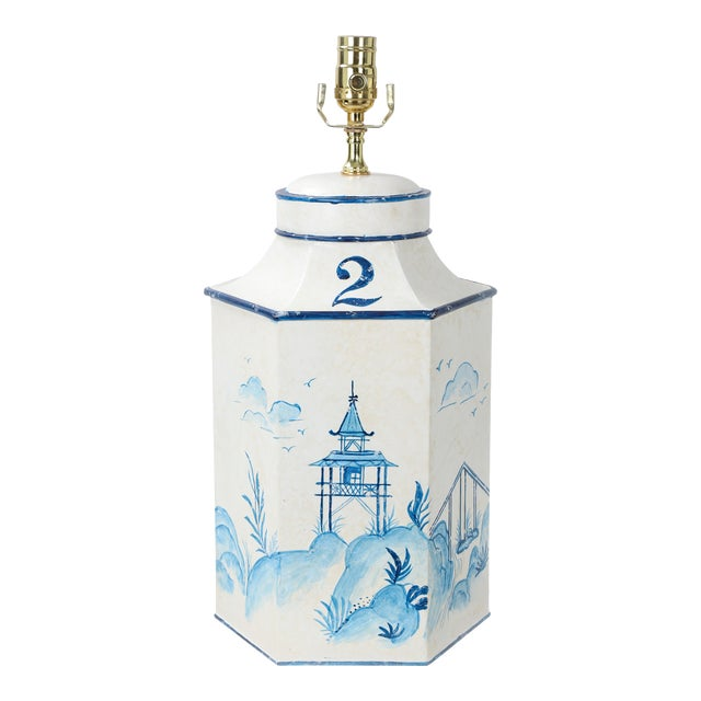 """Vintage English Export Chinoiserie Blue & White Tole Hexagon Tea Caddy Lamp """"#2"""" For Sale"""