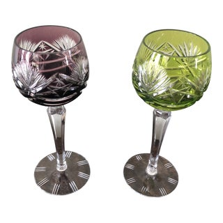Vintage Czech Hand Cut Crystal Holiday Glasses - a Pair For Sale